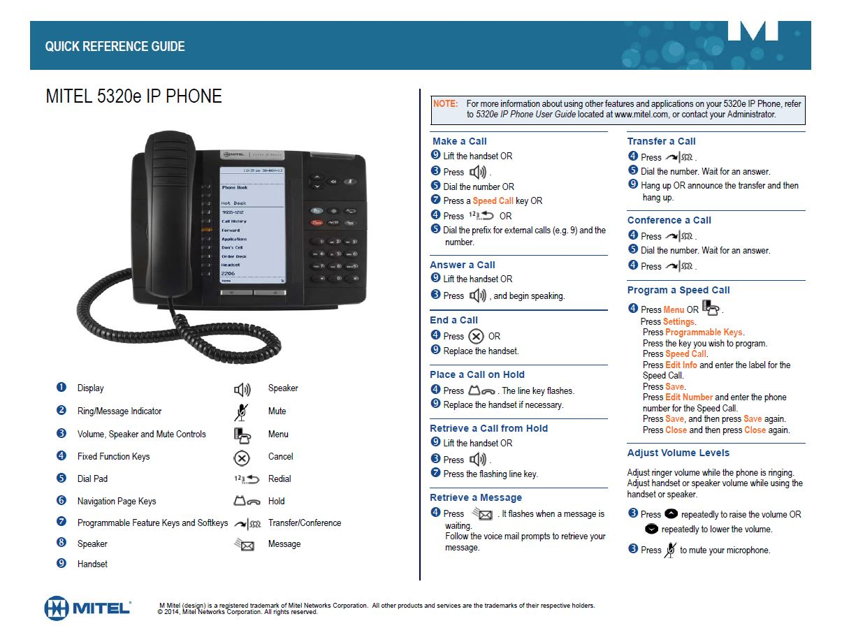 Mitel Quick Reference Guide It Help Desk