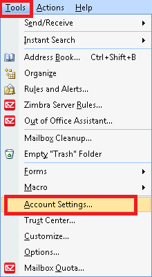 Outlook Tools menu Account Settings