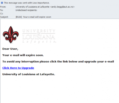 Sample phishing email it help desk the sender of the message says its university of louisiana at lafayette but look closer at the actual from address andyggaut thecheapjerseys Choice Image